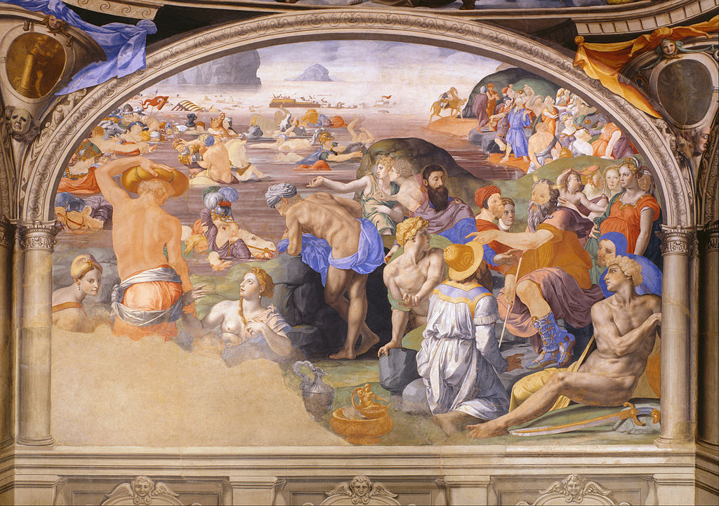 Agnolo Bronzino's   Crossing of the Red Sea,   circa 1540.Public domain via Wikimedia Commons. The painting isin the Palazzo Vecchio Museum .