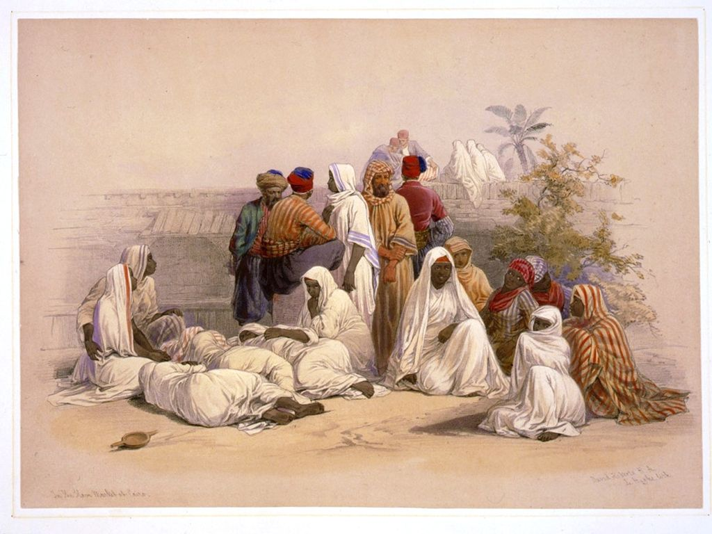 The Slave Market of Cairo . David Roberts' Egypt & Nubia, issued between 1845 and 1849  [Public domain], via Wikimedia Commons.