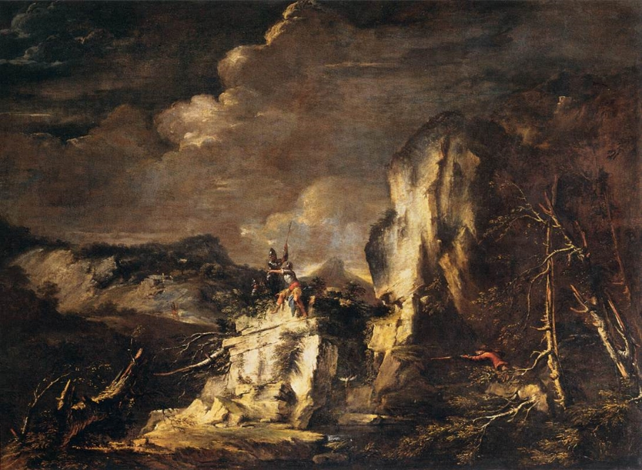 """Salvator Rosa,   Paessaggio roccioso con soldati e cacciatore  (Rocky Landscape with Huntsman and Warriors) , c. 1670. Radcliffe drew inspiration from the landscapes of """"savage Rosa"""" for her images of Italy, a country she never visited. (Stupid French Revolution.)"""