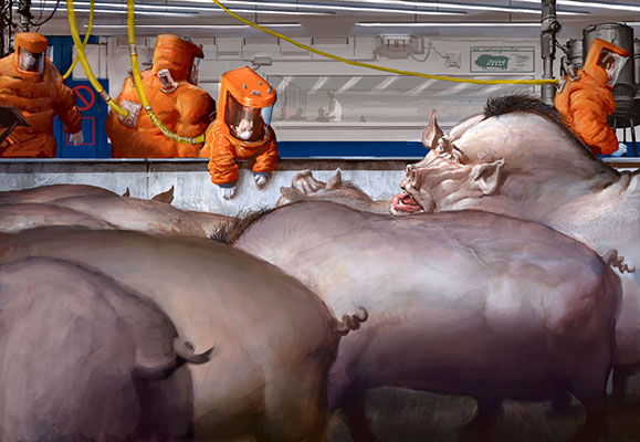 """""""The pigoons were much bigger and fatter than ordinary pigs, to leave room for all of the extra organs. They were kept in special buildings, heavily secured: the kidnapping of a pigoon and its finely honed genetic material by a rival outfit would have been a disaster."""" Illustration: Jason Courtney  .  CC BY-NC-SA 2.0  ."""