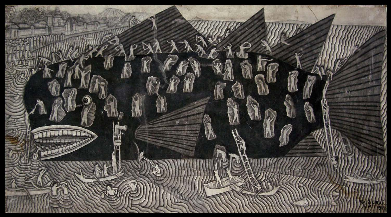 """On Valente's Venus, divers collect callowmilk from callowhales which resemble something like a cross between kelp and whales with big bladders of """"milk."""" Above Balinese are harvesting a beached whale.  """"   Beached Whale, Ida Bagus Nyoman Rai - Sanur, Bali, Indonesia.""""  Ink wash on canvas. B y Swidagdo, circa 1970's."""