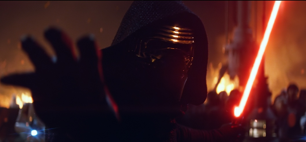 Kylo Ren causing havoc but possibly feeling bad about it.