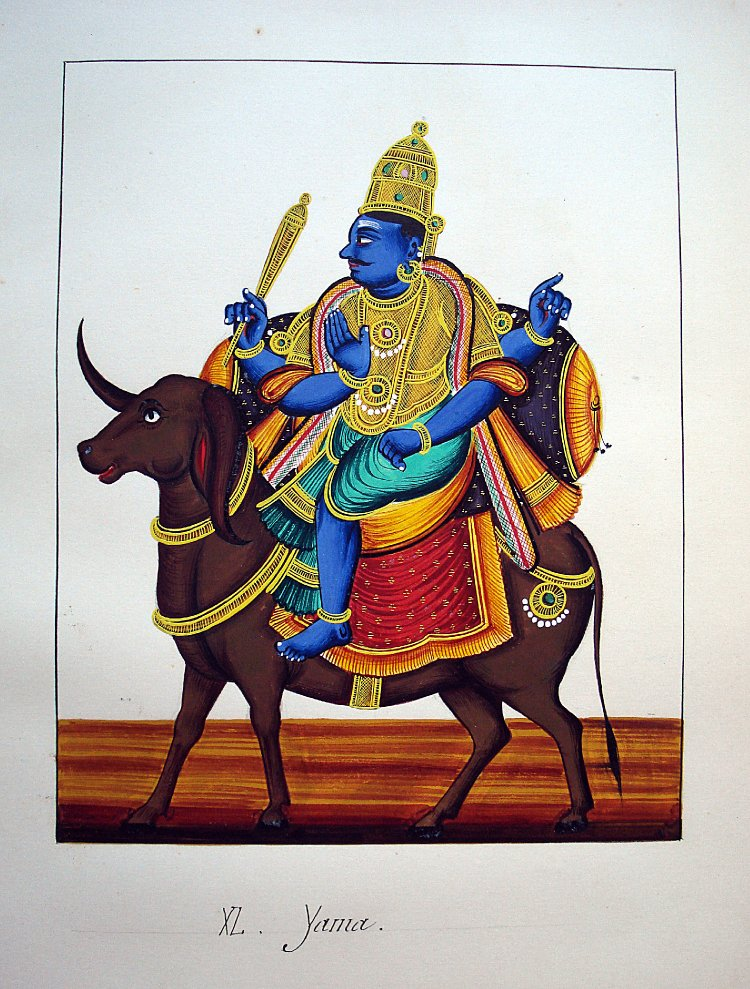 Four-armed and dark-complexioned Yama rides on his bejewelled and caparisoned buffalo. c. 1850. currently at the British Museum.