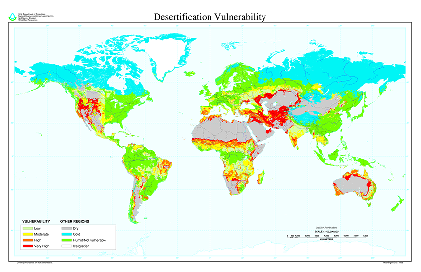 World map of desertification vulnerability. U.S. Department of Agriculture. Public Domain.