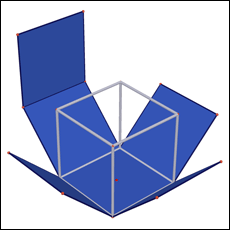 Unfolding a 3-D cube into its 2-D, cross-like surface (via  Cabri )