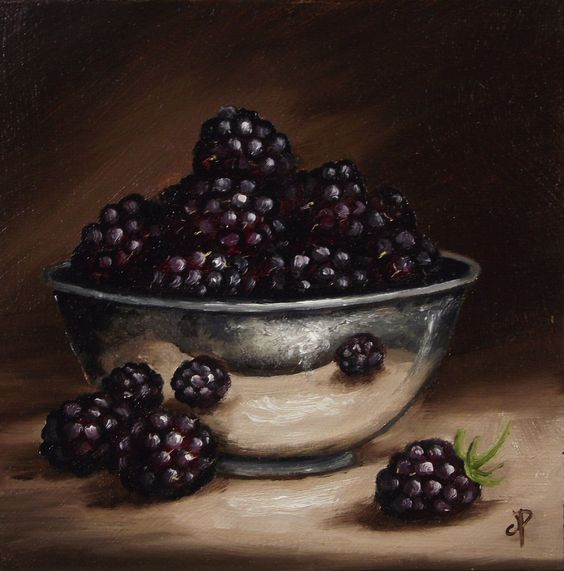 Blackberries in Silver Bowl , oil painting still life by  Jane Palmer
