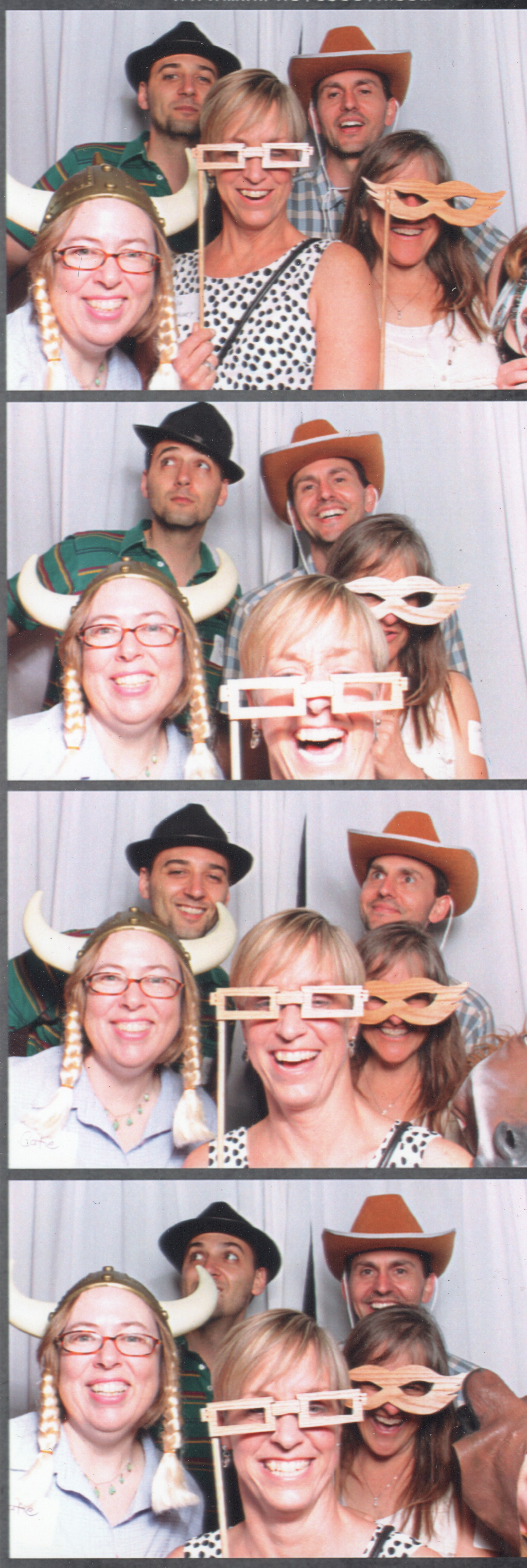 Clockwise: CS Peterson the Viking, Theodore McCombs in the black hat, Mark Springer in the cowboy hat, Christie Lips, fittingly, behind the lip-shaped glasses, Gemma Webster in the horse mask barely visible in the bottom right, and Lisa Mahoney behind rectangles.June 2016.