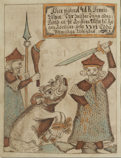 The wolf Fenrir with Týr's severed hand in his mouth and a god, who might be Þórr, holding a spear and a spiked club, from the Binding of Fenrir myth in Gylfaginning in Snorri's Edda.Jakob Sigurðsson 1727-1779.