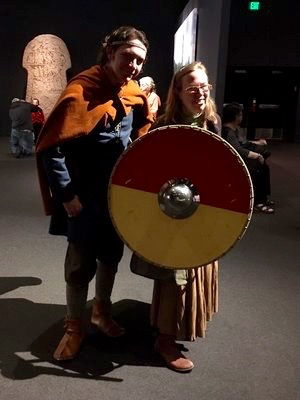 CS Peterson getting some pointers on shield work from the local Jarl.