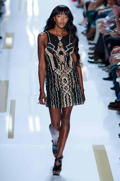 Naomi Campbell (who was recruited at 15) walks the runway at the Diane von Fürstenberg Spring/Summer 2014 show at New York Fashion Week, September 2013. Photo by  Christopher Macsurak