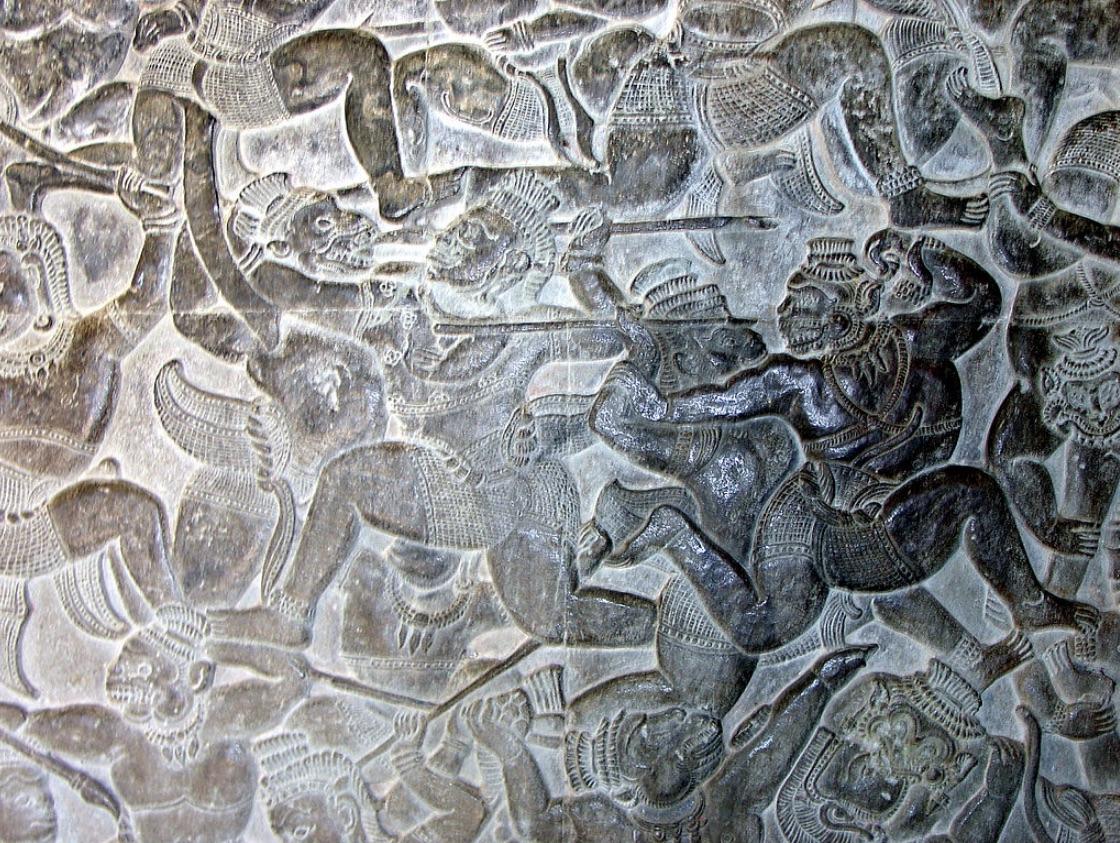 Monkeys vs Ravanna's demons. Bas-relief at Angkor Wat, 12th century.