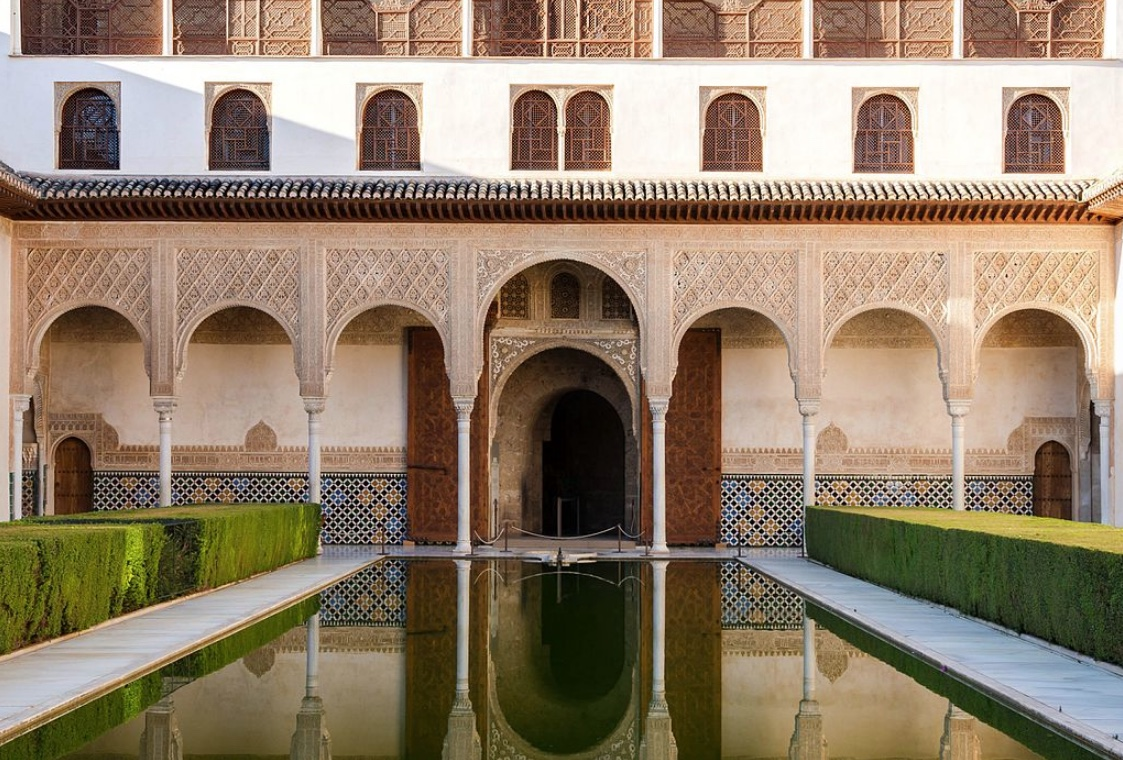 Patio de los Arrayanes  ( Court of the Myrtles ), detail, Alhambra, Granada, Spain by Jebulon, 2012.