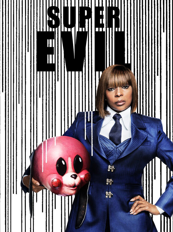 "One of my favorite recurrences is that of dog-headed characters. The first one appears in the aptly titled ""Dogs,"" featuring a woman wearing a papier-mâché dog head. I couldn't help but picture Mary J. Blige from Umbrella Academy (though I doubt this is was Bruce's inspiration). Image is Mary J. Blige in a blue pinstripe suit holding a scary pink dog head mask. The photo reads, Super Evil."