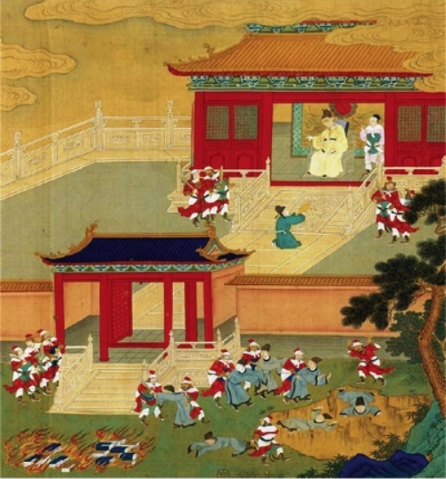"Rulers have been trying to repress knowledge since at least 213 BC. ""Killing the Scholars and Burning the Books,"" Anonymous, 18th century Chinese painted album leaf; Bibliothèque nationale Paris [Public domain]"