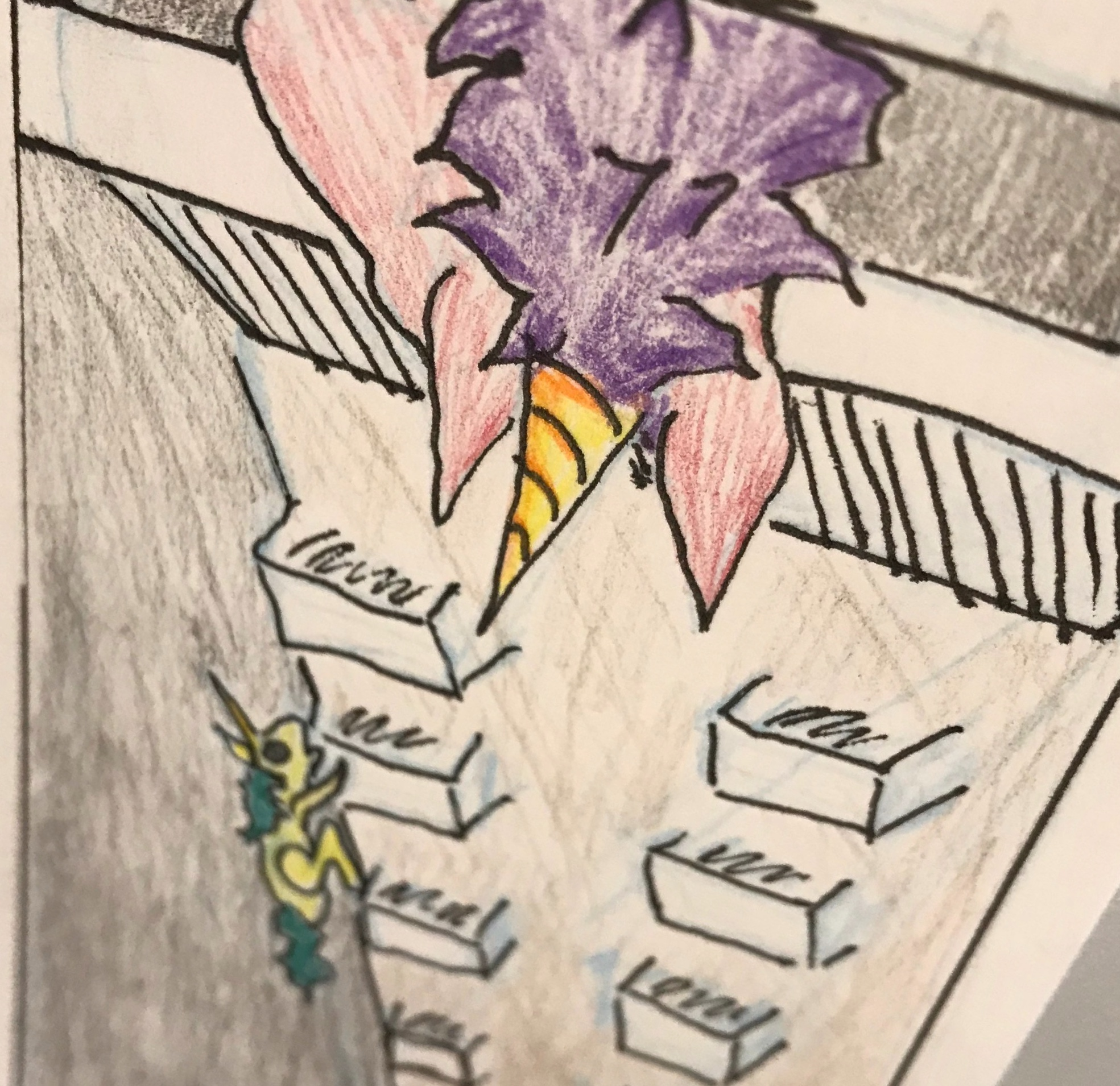 """It also made me want to draw. I'm still learning. This is done in the  Lynda Barry  style of attendance card. Captain Cupcake (a unicorn) peers over the balcony to see her once beloved now ghoul scaling the side of the building. This is a comic response to Michael Kelly's story """"Hark at the Wind."""" To be clear there are no unicorns in the story. If I dare to make art, you should too."""