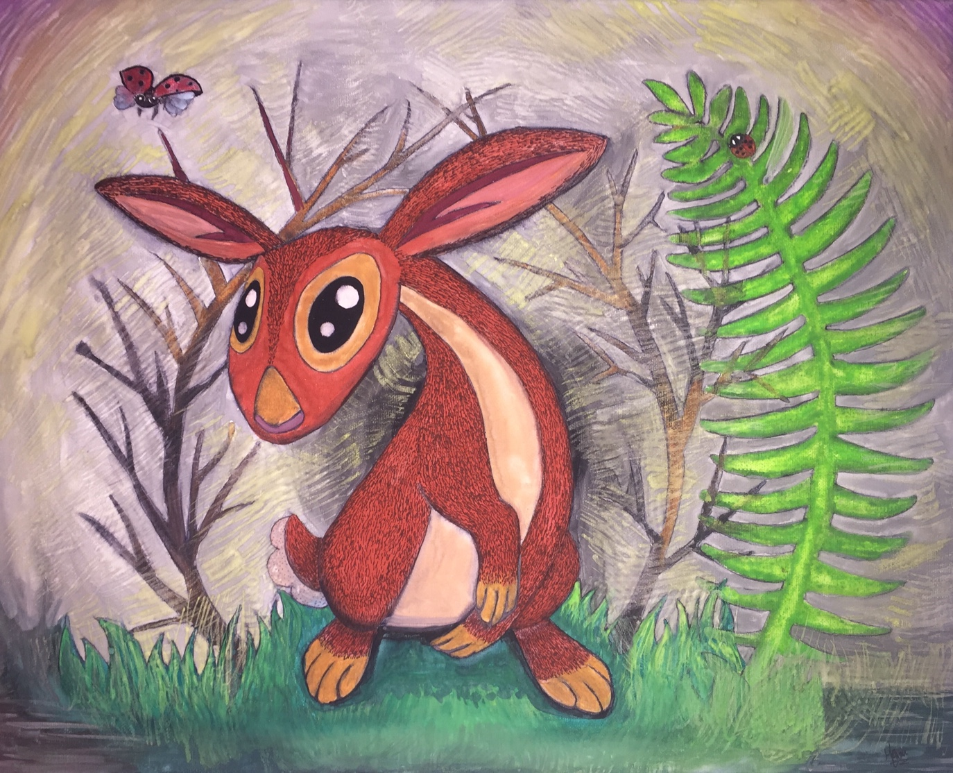 Swamp Bunny - watercolor and ink on canvas.