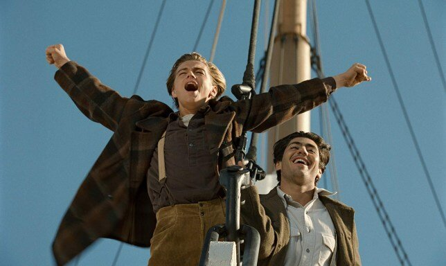 72: Leonardo Di Caprio improvised the phrase 'I'm king of the world' in Titanic.  https://www.youtube.com/watch?v=HmMvgisxymE