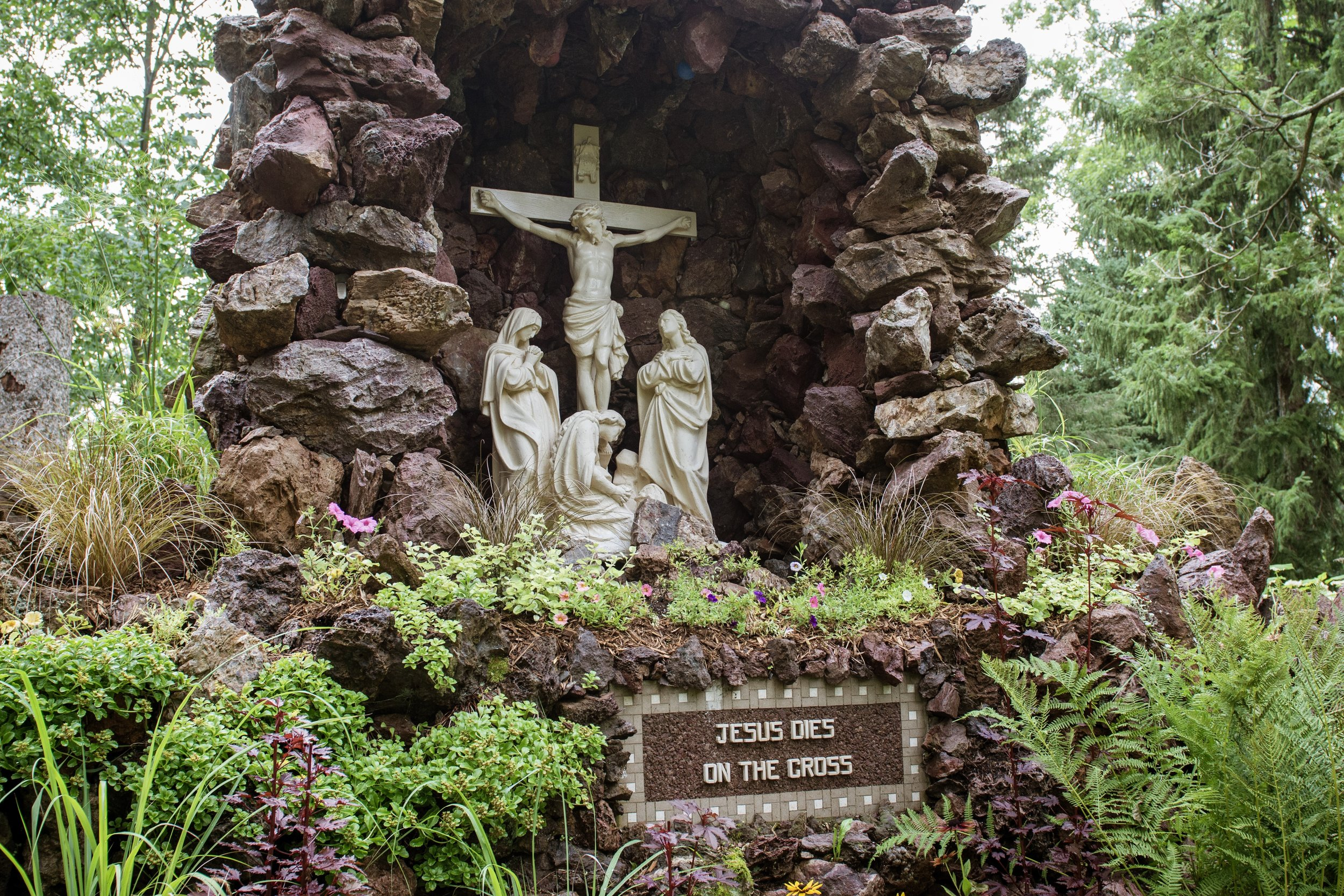 There are dozens of shrines spread throughout the 5 acre gardens. This is one of the 14 stations of Christ.