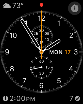 Chronograph.  Complications clockwise from top left: Carrot Weather, stopwatch, OmniFocus, Calendar
