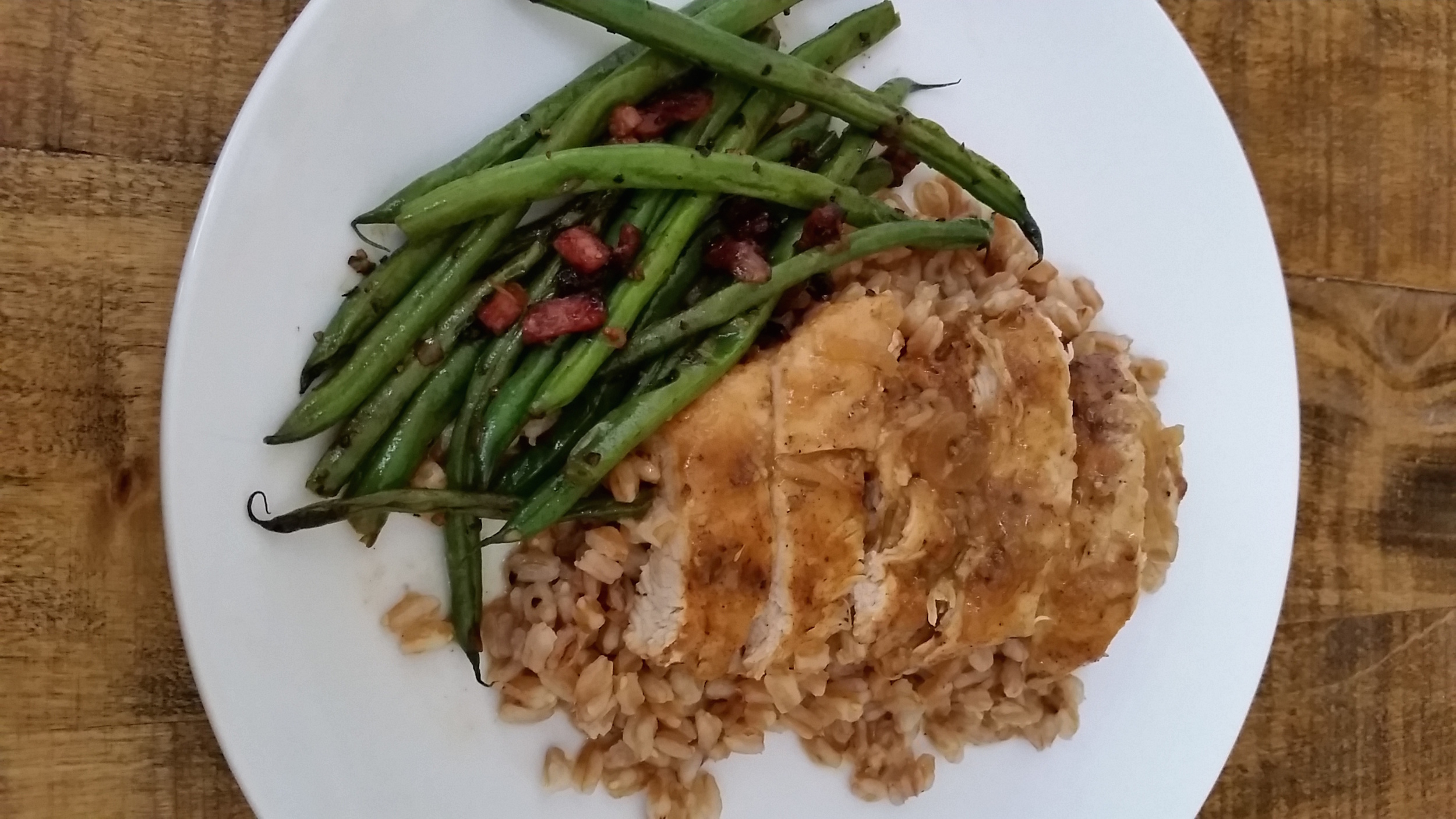 Braised Chicken Breast over Farro and French Green Beans Sauteed w/ Bacon & Shallots