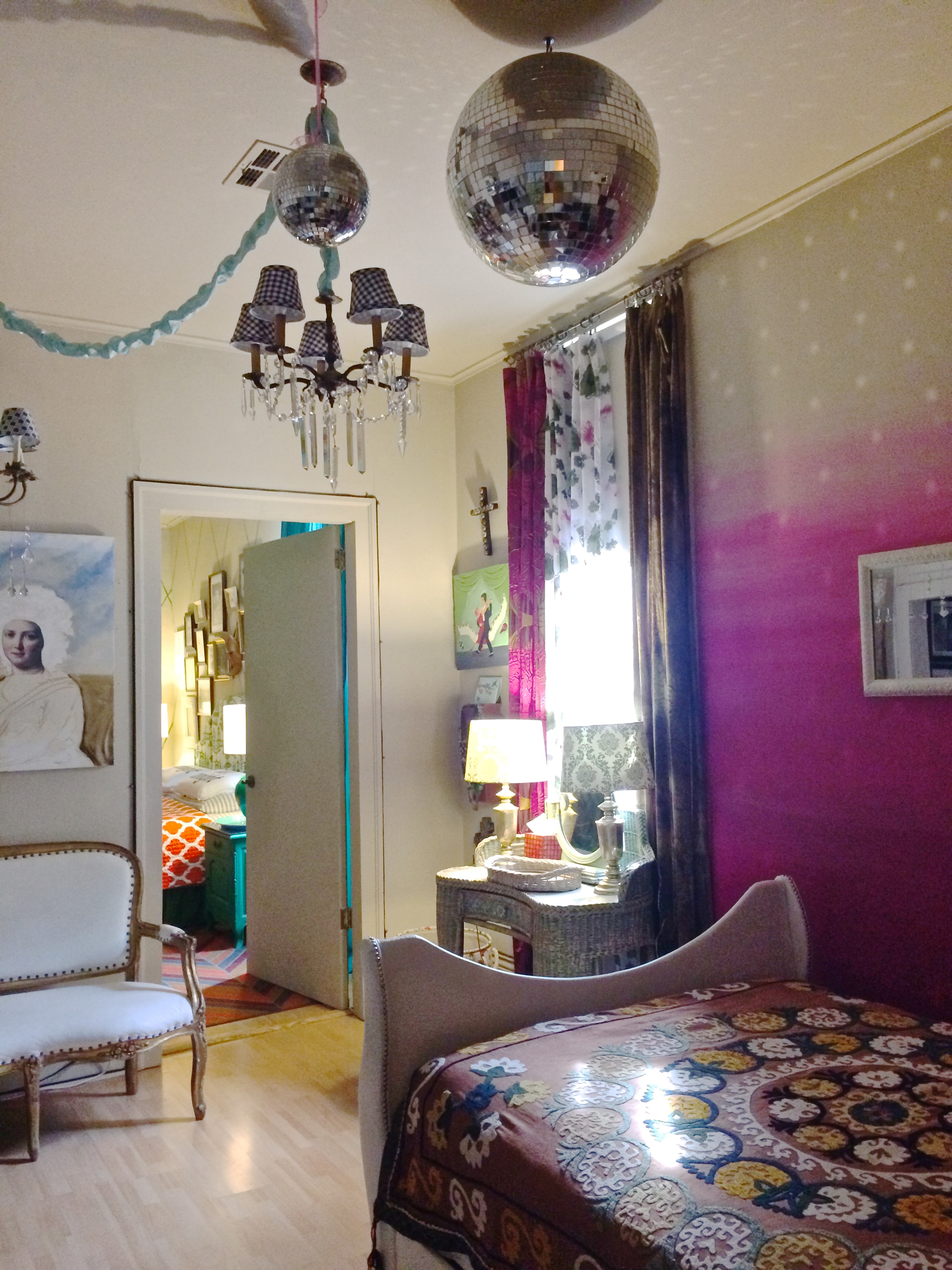 disco ball bedroom with ombre wall
