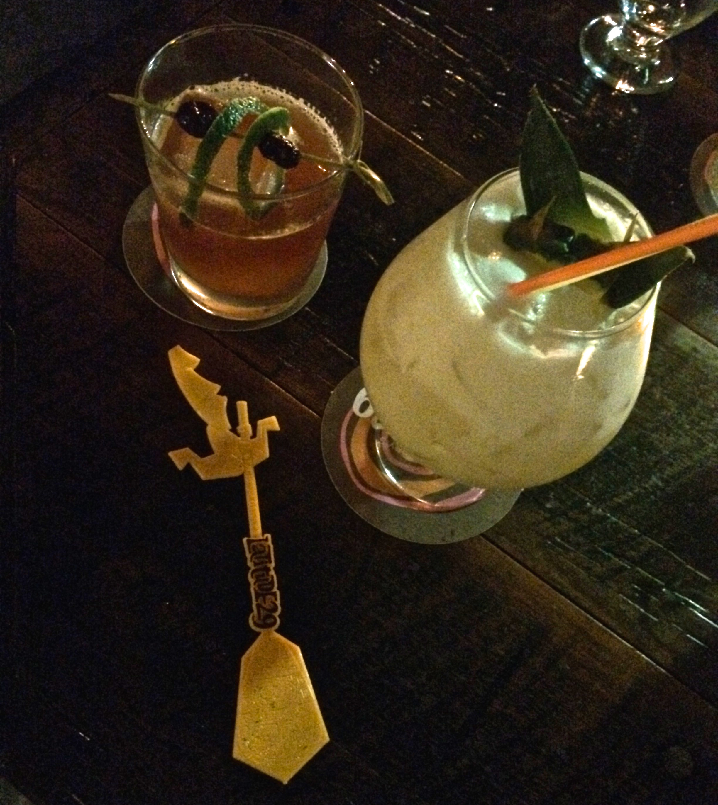 paniolo, kea coloda, and swizzle stick (stolen promptly from my sister's latitude 29 drink)