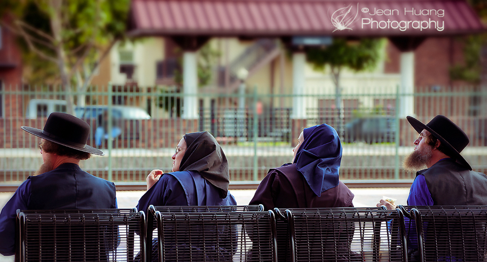 Amish Looking in One Direction at Train Station - ©Jean Huang Photography