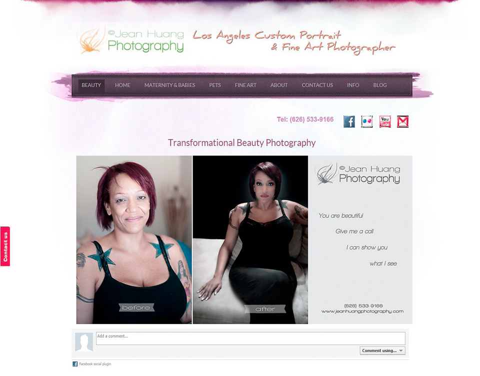 Click to talk to us - Jean Huang Photography Website Transformational Beauty Photography Page