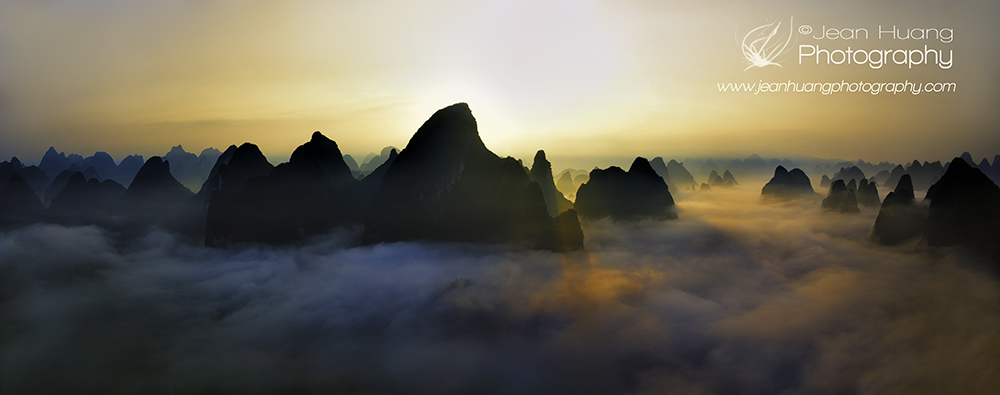 Sun Rise behind the Rolling Mountains in Yangshuo (阳朔) above Dreamy Clouds - ©Jean Huang Photography