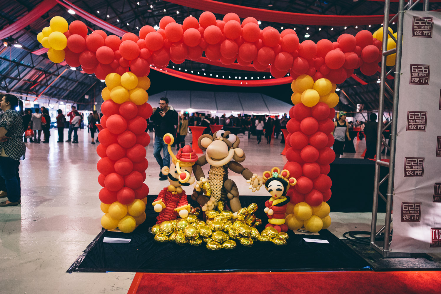 Festive decorations and a balloon monkey