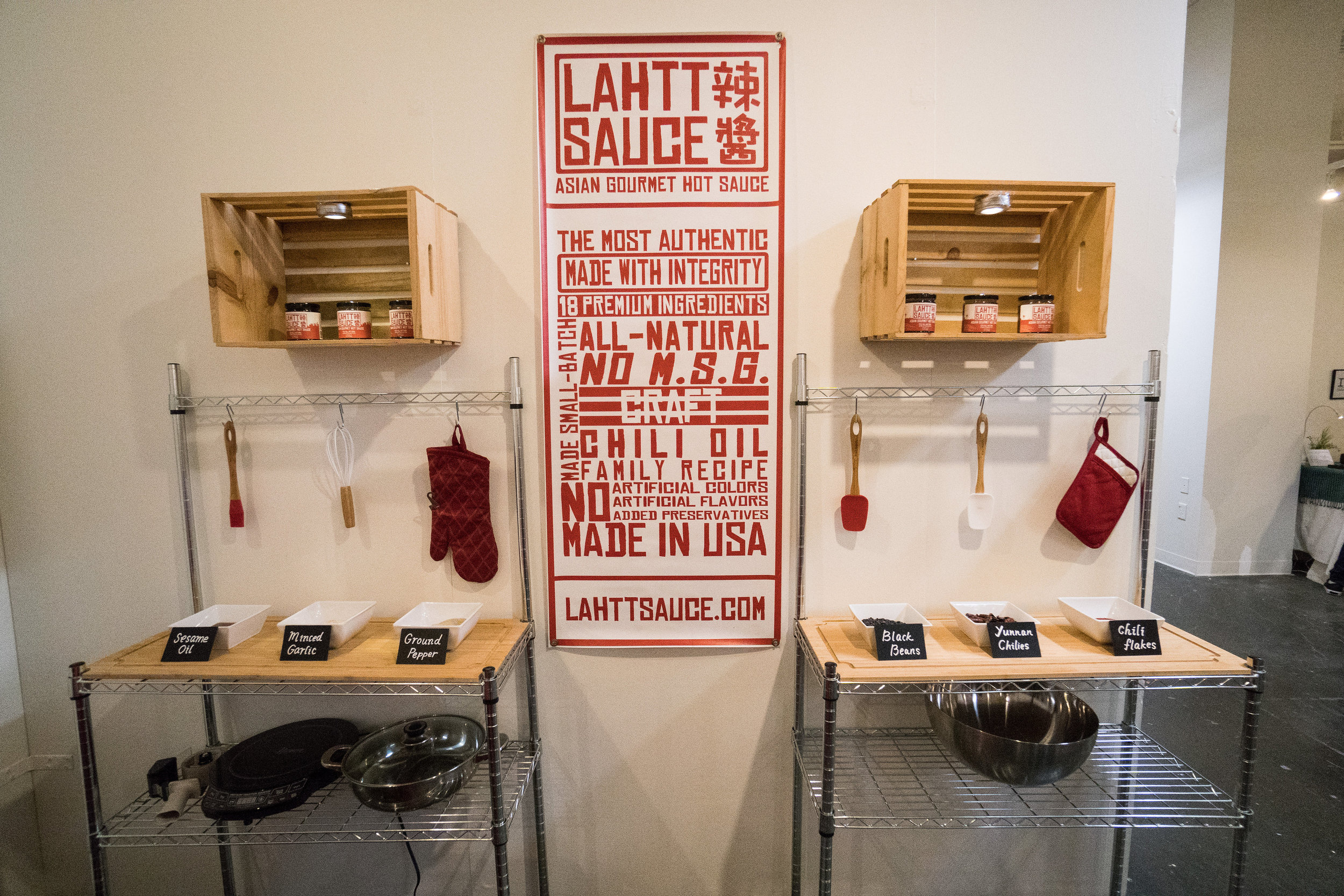 Sniff and feel some of our ingredients and scope the banner! Red & white color ways ftw.
