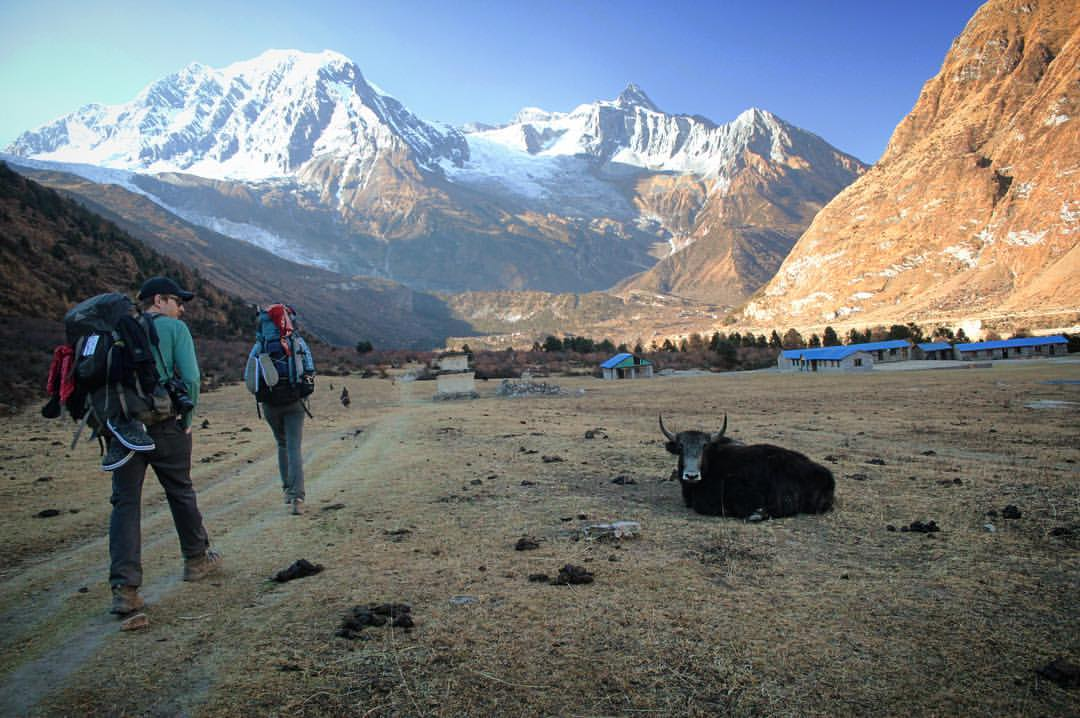 Happy we found this village. I was dehydrated and about to drink the reserve of saline inside my foot blisters.— at  Manaslu Circuit Trek .