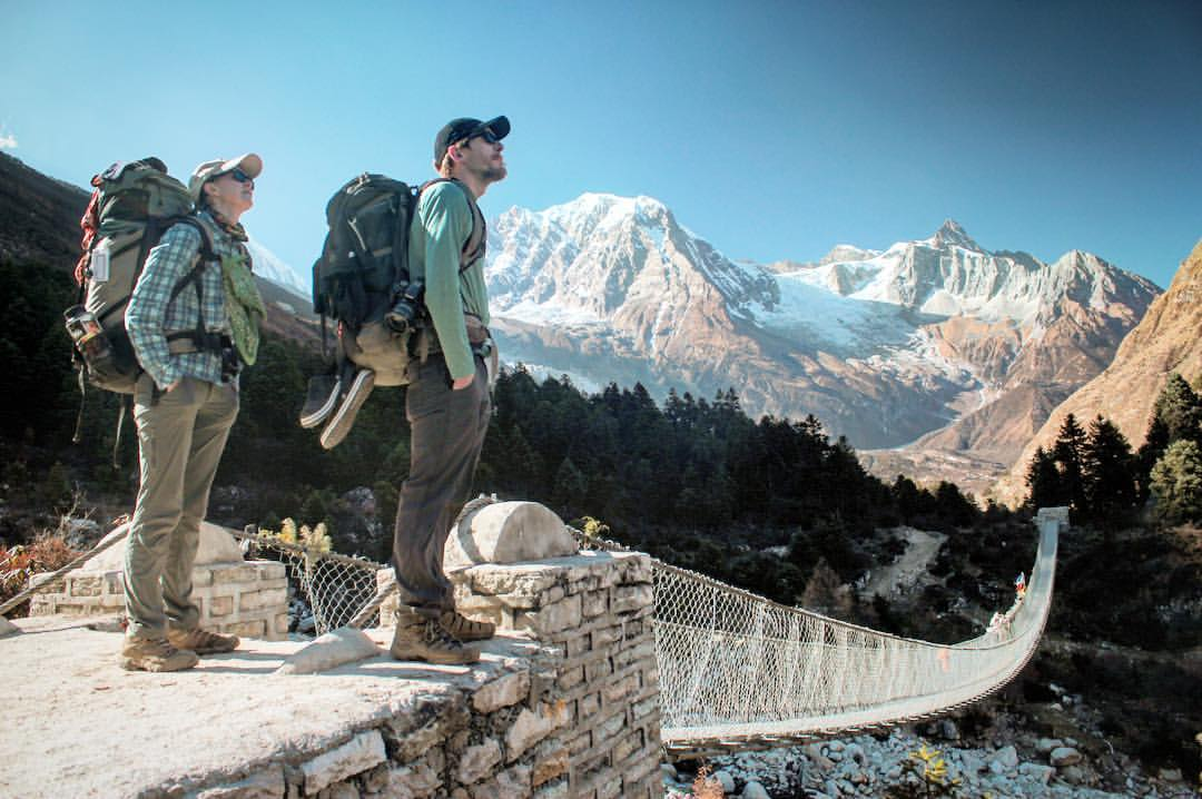 Days into our Nepali mountain trek, we're getting better at sniffing out distant wifi signals.— at  Manaslu Circuit Trek .