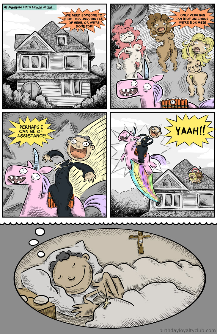 Heroic virgin priest saves the sexy naked prostitute ladies from the explosive unicorn... OR WAS IT ALL A DREAM? Yes it was a dream.