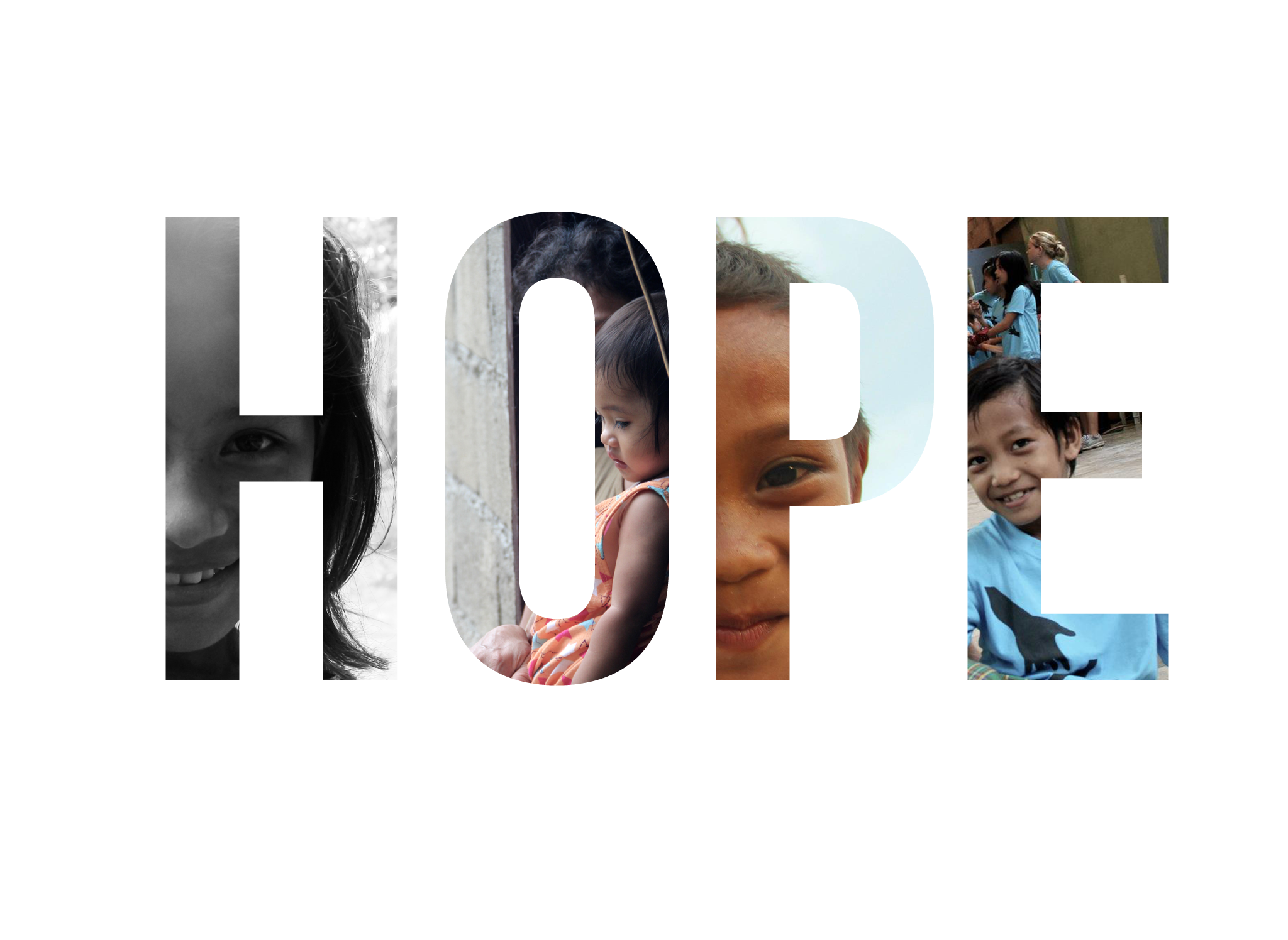 """Hope"" Campaign -   Refuge Film   For his 2012 documentary film,  Refuge , Jared developed this ""Hope"" campaign for print and web. Each version featured different images from the film inside of the wordmark. This campaign was most prominently used as Facebook Banners that thousands of users downloaded and set on their own profiles, advertising the film."