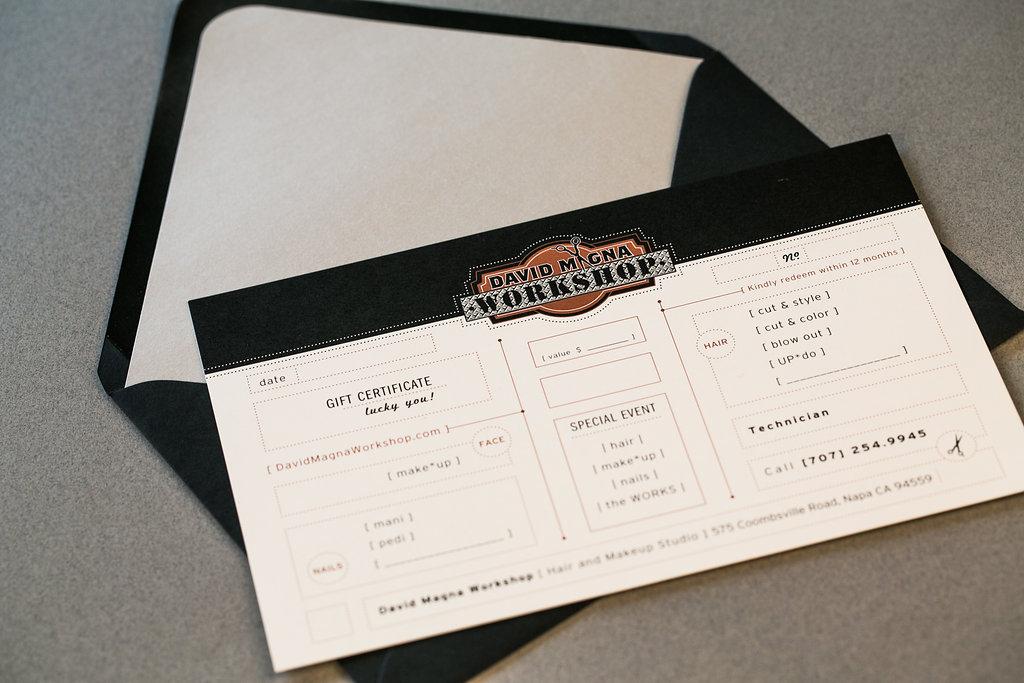 Gift Certificate Concept & Design   Napa