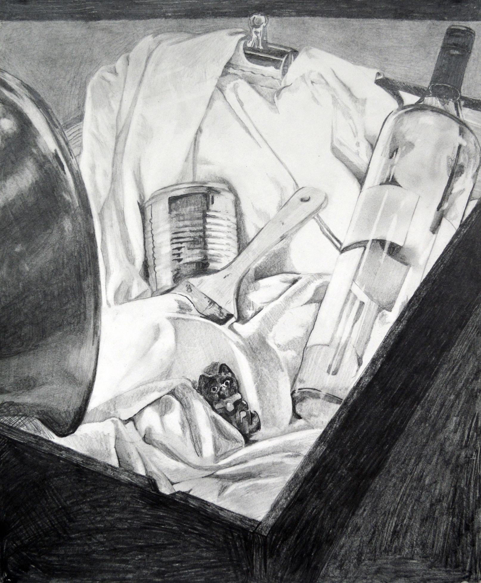 "Media: graphite on paper  Size: 18""x24""  Date: Spring 2016  Course Name: Perceptual Drawing  Assignment: Build Your Own Still LIfe (In-Class)  Level: 2000"