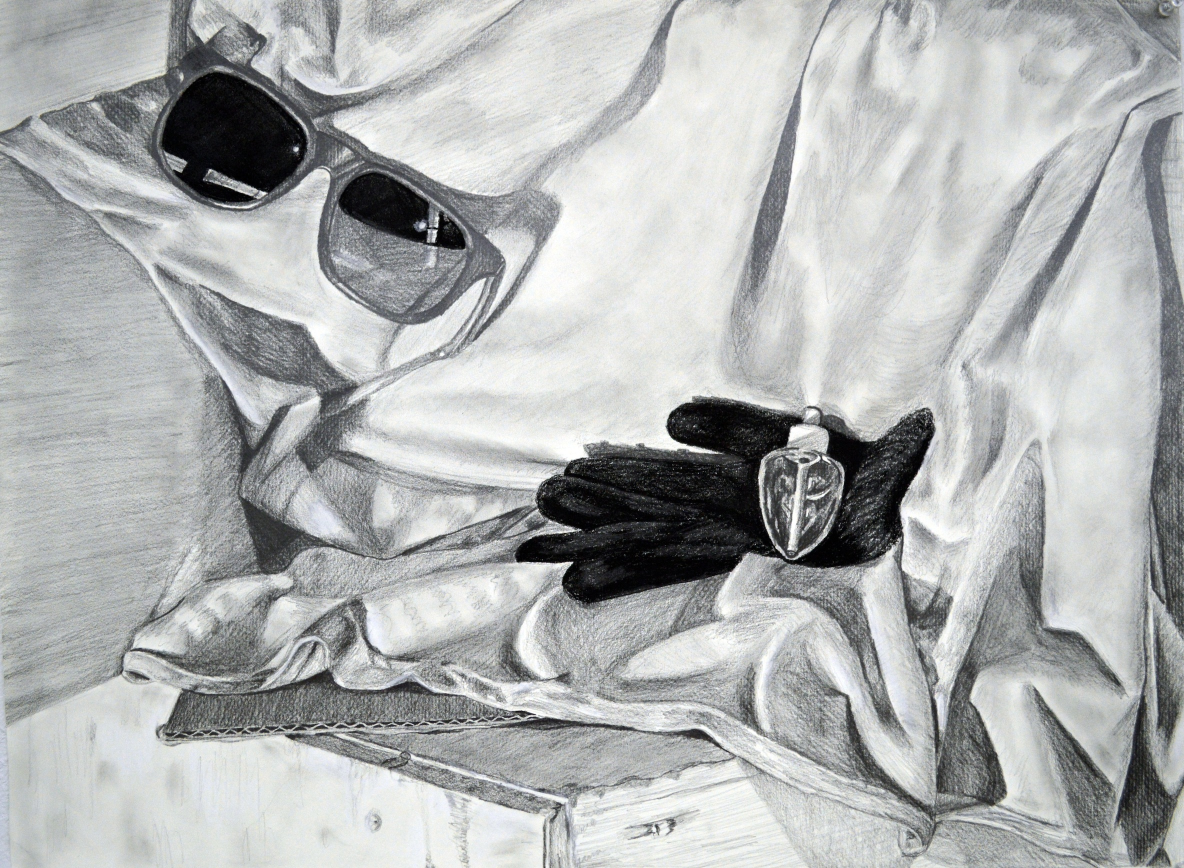 "Media: graphite on paper  Size: 22""x30""  Date: Spring 2016  Course Name: Perceptual Drawing  Assignment: Build Your Own Still LIfe (In-Class)  Level: 2000"