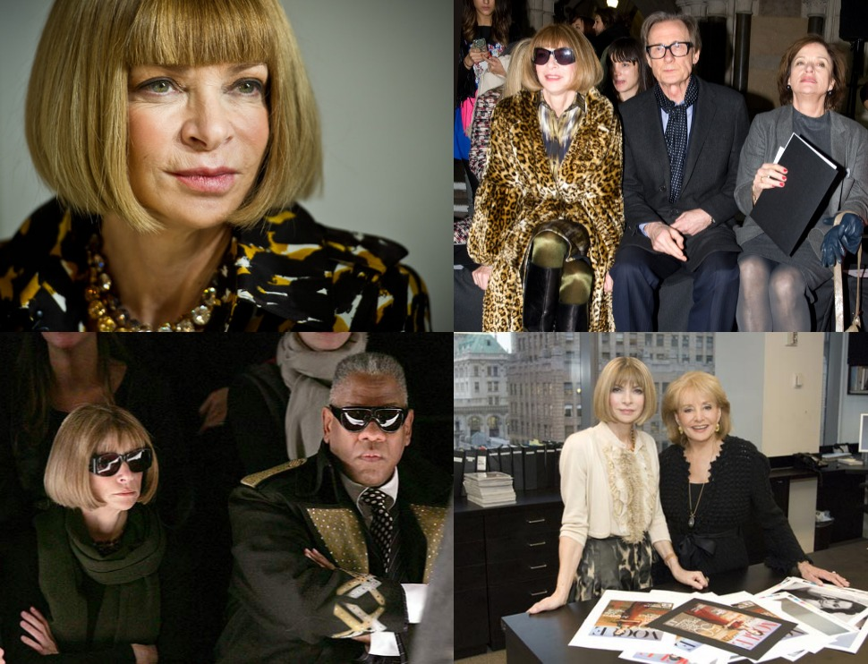 """1. Anna Wintour in """"The September Issue"""" Documentary.  2. Anna Wintour, Bill Nighy and Diana Quick attend the Nicole Farhi show.  3. Andre Leon Talley with AnnaWintour.  4. Anna Wintour 2007."""