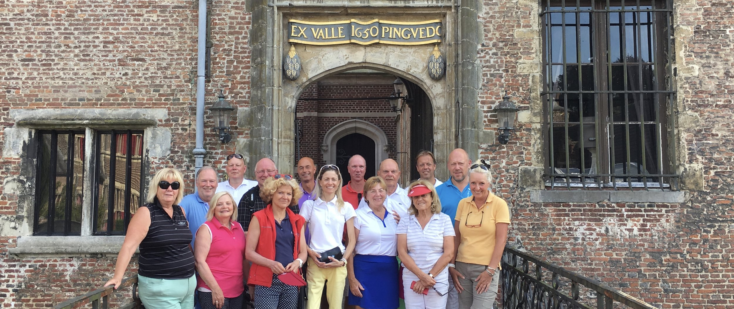 EGTMA Members in front of 14th century Cleydael Castle, Belgium