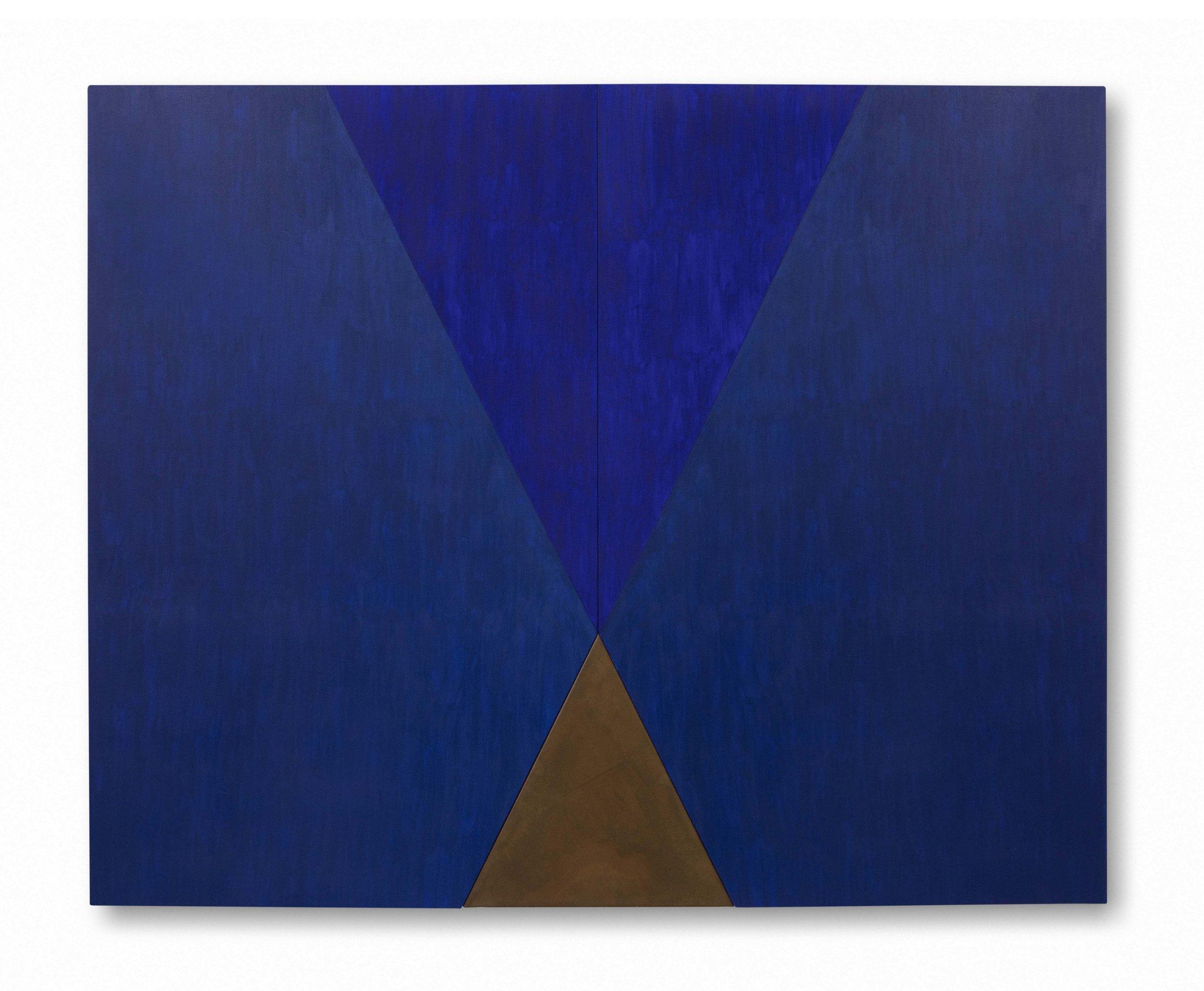 Triángulos 2. 2019. Óleo sobre lienzo y acero corten. 120 x 150 cm.