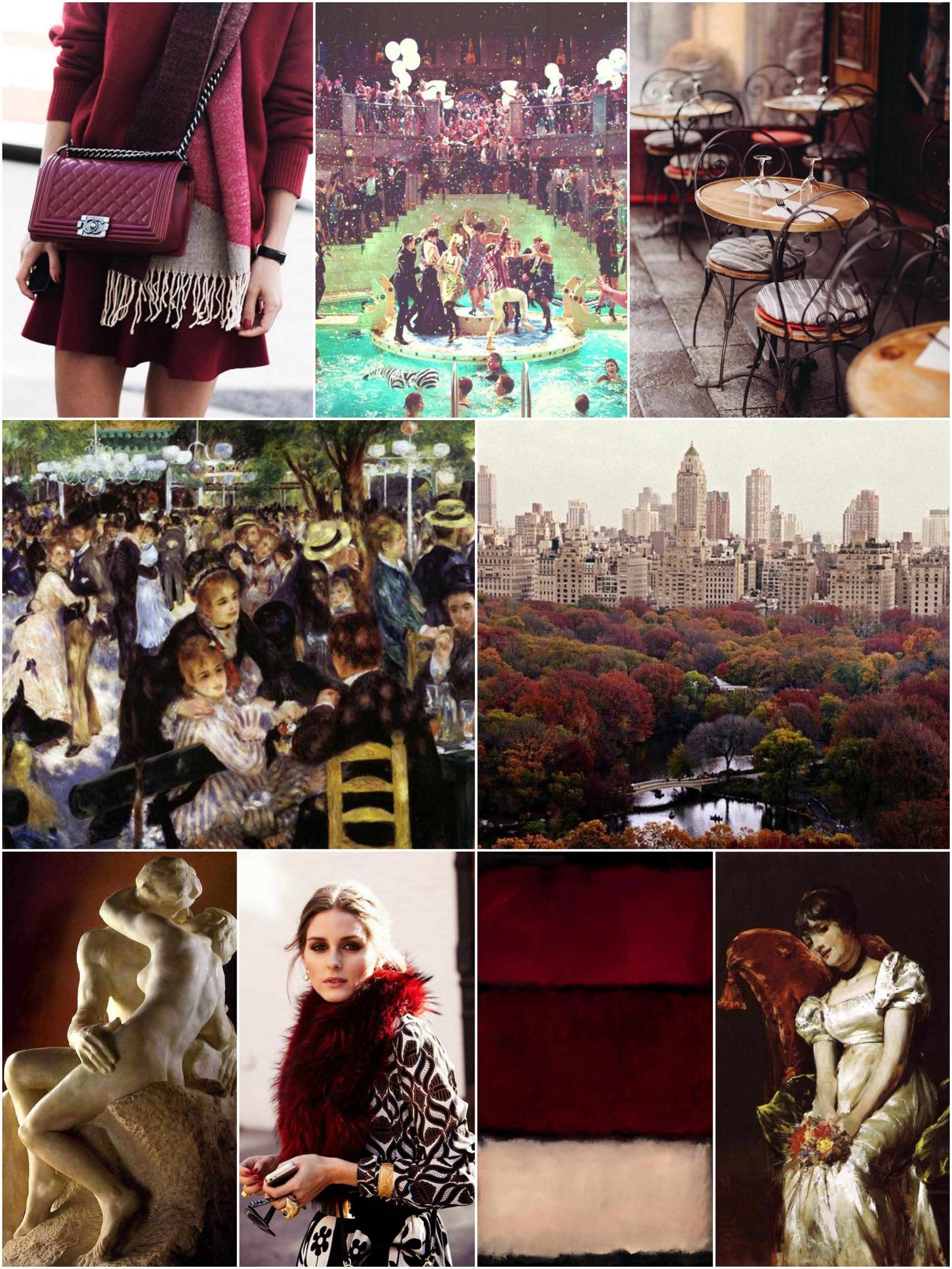 Photos (clockwise from upper left):  Sheerluxe  |  Mery  |  TimeOut  |  Strikes Our Fancy  |  Renoir  |  Rothko  | The OP Lookbook  |  The Kiss  |  Le Moulin de la Galette