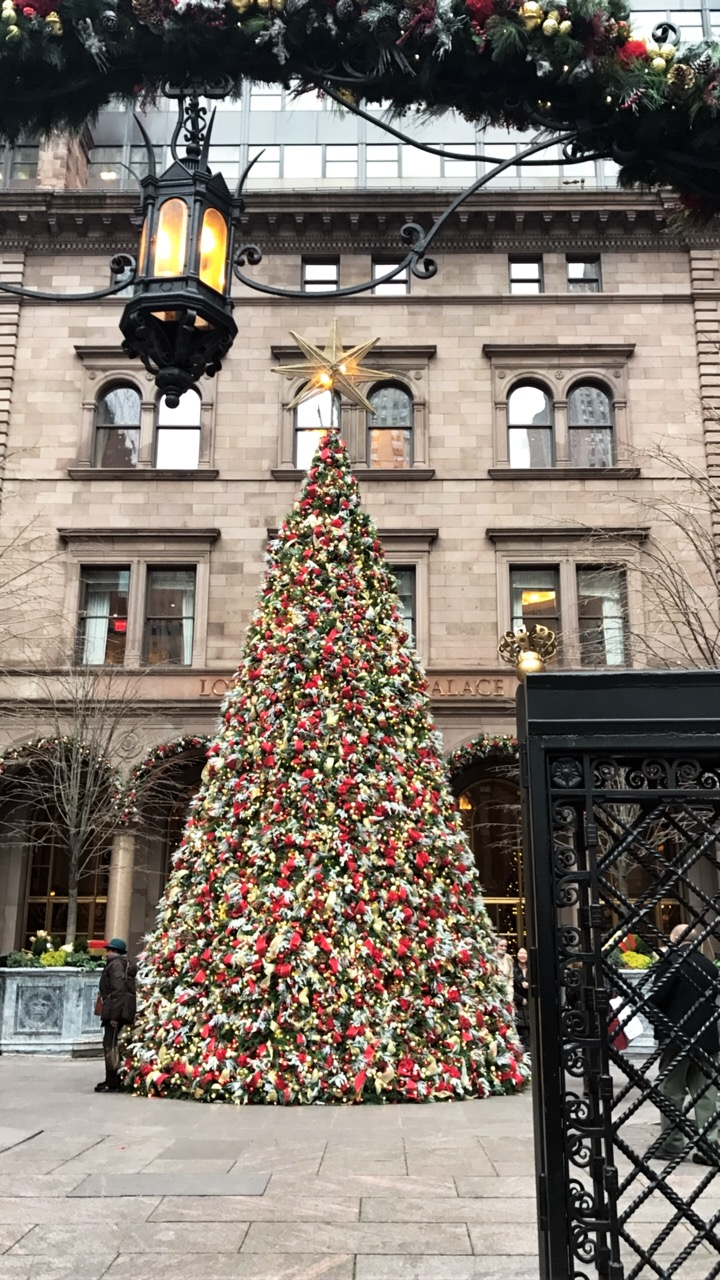 The Christmas tree at The Palace Hotel in NYC.