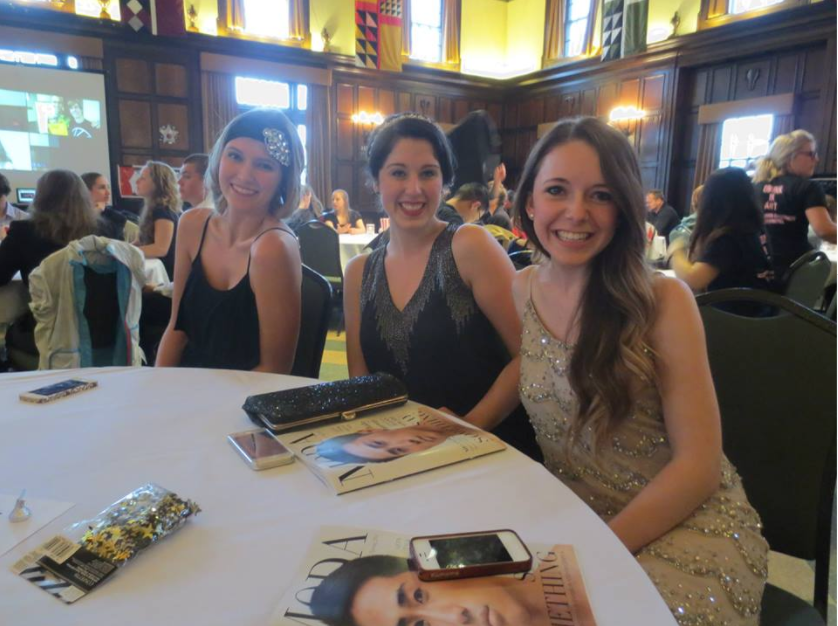 """Emma Leuman, Madalyn Manzeck, and Courtney Pelot photographed at the """"Party Like Gatsby"""" WUD banquet back in 2014. We all look like babies! haha"""