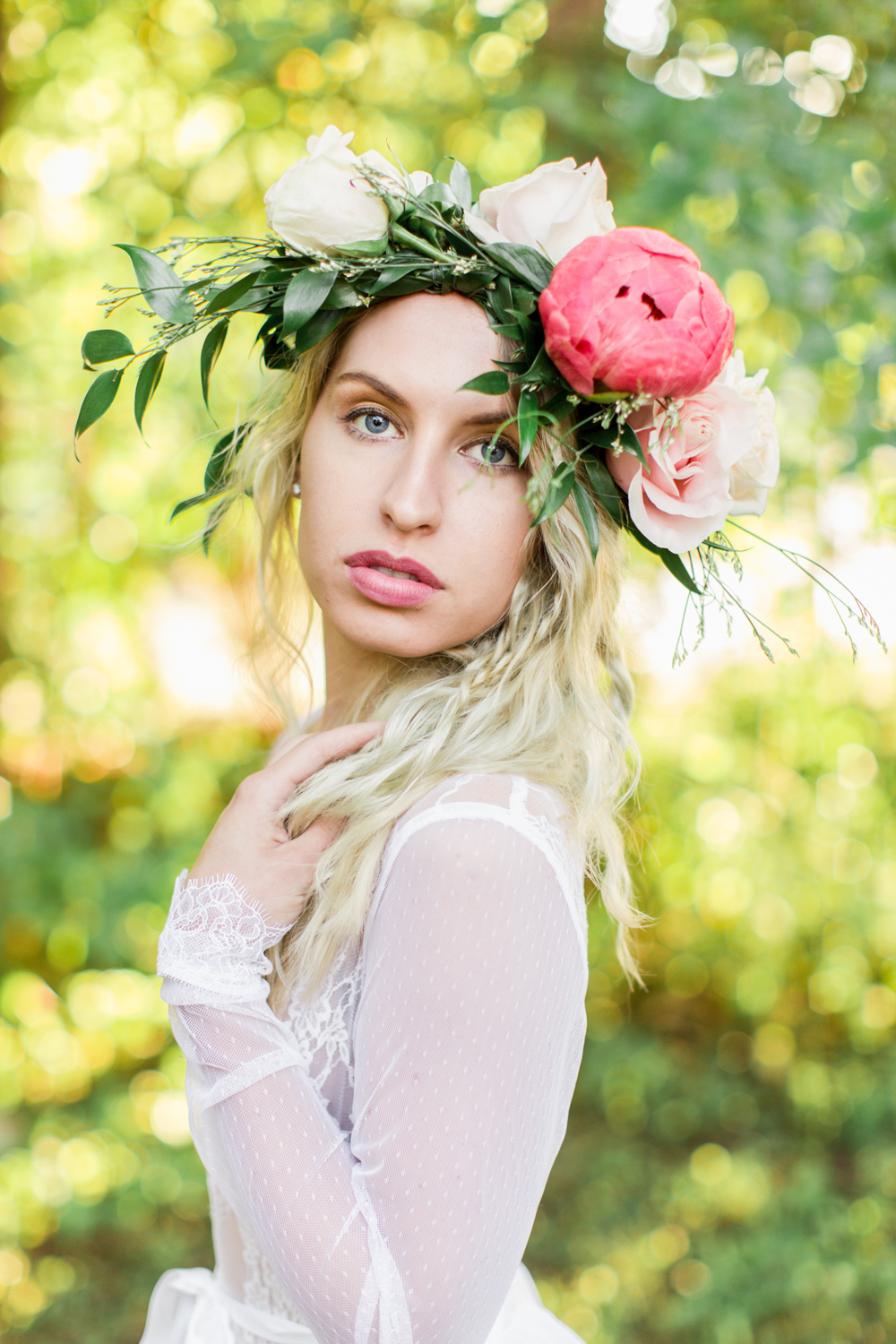Natalie Mizgalski wearing a La Tulipe flower crown and Madalyn Joy Designs bodysuit.