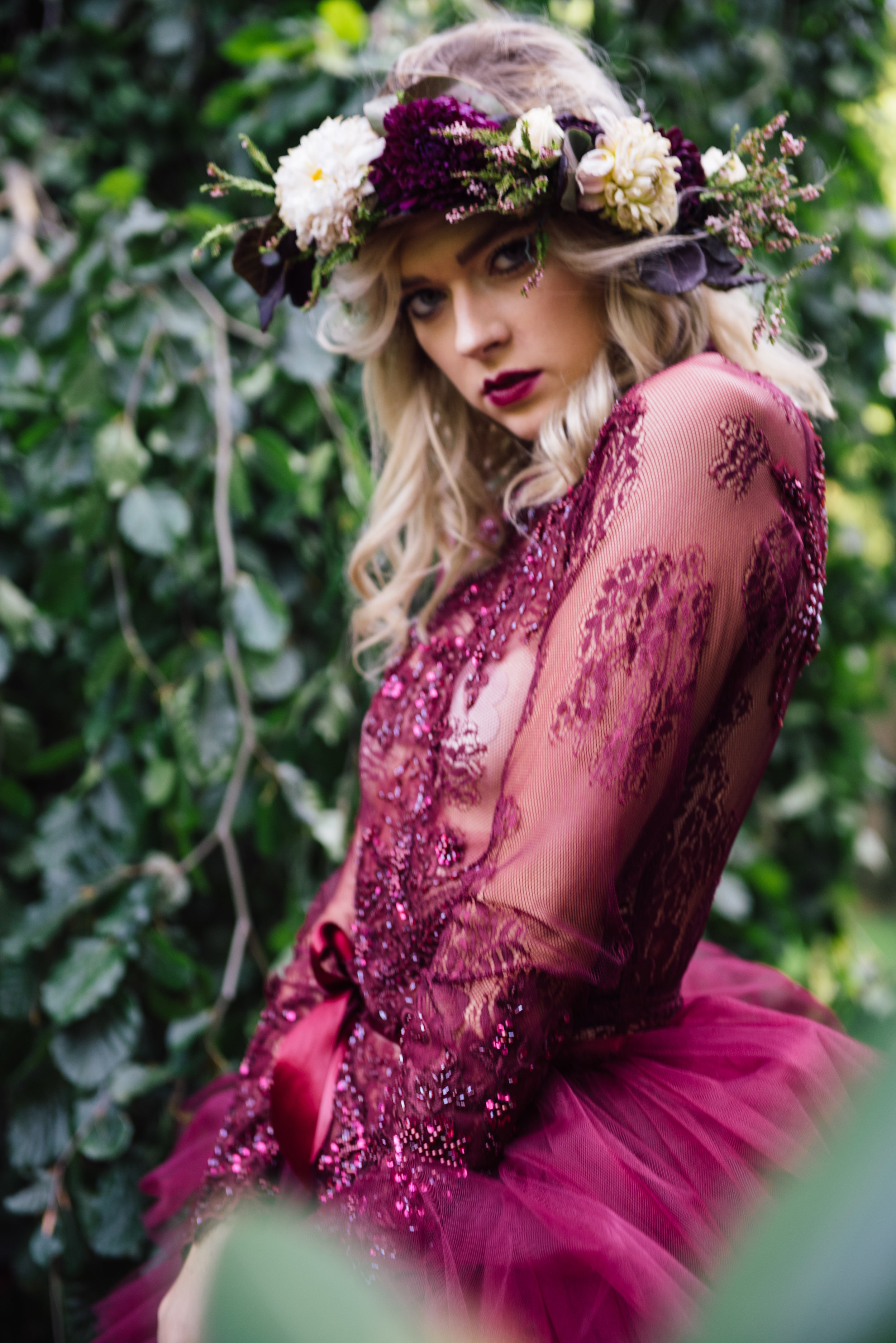 Nicole Petrie photographed by Moriah Ziman wearing Madalyn Joy Designs, hair by Taylor Fredrick, flower crown by La Tulipe, and assistance by Claire Bromley. 2017.