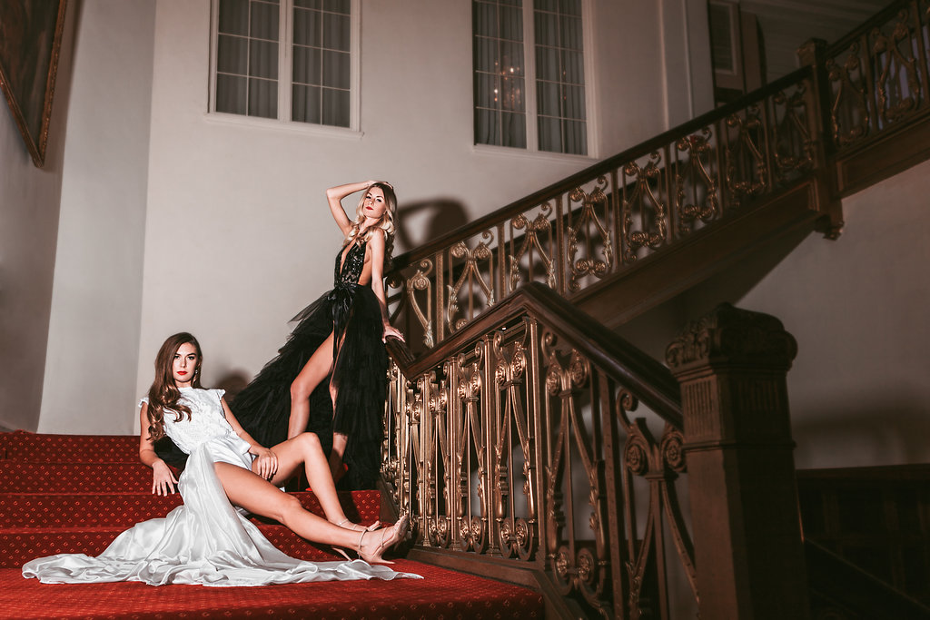 Samantha Krusic and Lori Mae Gibb wearing Madalyn Joy Designs photographed by Tif Cohen in Milwaukee, WI. 2017.