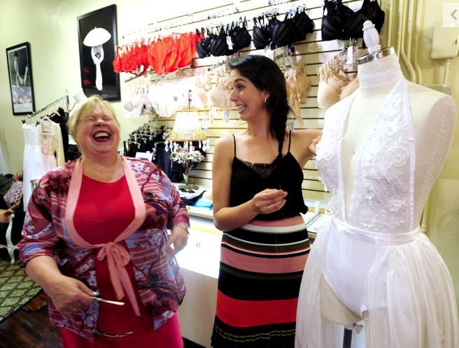 KENOSHA NEWS - Bisou Lingerie owner Sherry Ludwig laughs out loud as Milwaukee area fashion designer Madalyn Manzeck shows her the applique process that she is using to create her custom bodysuit.READ MORE