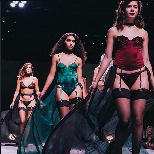 Sharing one last throwback from @mkefw today 💃🏻 Lots of long hours went into making this collection but it is one of my favorites to date. It's always worth it to push yourself to try new things because regardless of the outcome, you always learn something new i.e. inserting boning into corsets and basques is extremely tedious and time consuming but ultimately worth it. 🙌🏼 #madalynjoydesigns #lingerie #mkefw
