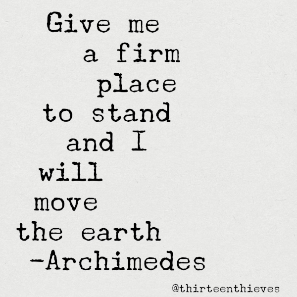 Archimedes quote Thirteen Thieves blog